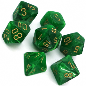 Green & Gold Vortex Polyhedral 7 Dice Set